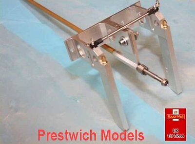 """TWIN RUDDER AND FLEXISHAFT 1/4"""" 6.35mm 630mm long rc model boat gas"""