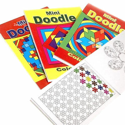 4 x Childrens Mini Doodle Colouring Books 44 Designs Per Book Party Favours 3095