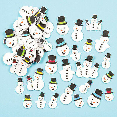 Snowman Glitter Foam Stickers for Children to Decorate Cards Crafts (Pack of 80)