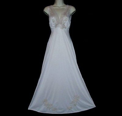 Vtg Van Raalte Suavette Incredibly Soft Ecru Lace Appliques Quality Nightgown S