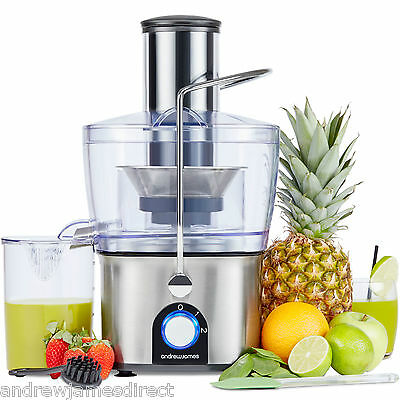 Andrew James Chrome Compact Integrated Whole Fruit Power Juicer 700W Extractor