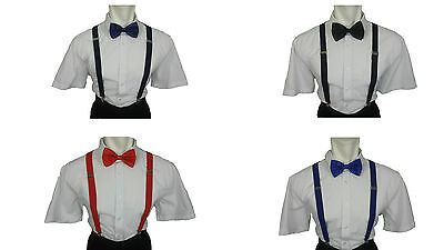 Mens Braces and Bow Tie Set Braces and Bow Tie Set Braces and Black Clip On Tie