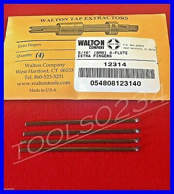 """New Walton 12314 Tap Extractor (4) Replacement Fingers 5/16"""" 4 Flute USA MADE"""