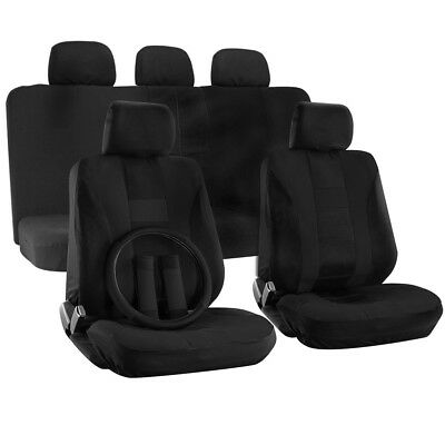 Truck Seat Cover for Toyota Tacoma Solid Black Steering Wheel//Belt Pad//Head Rest
