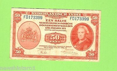 NETHERLAND INDIES 50 CENT  BANKNOTE, 2nd March 1943, FD173399