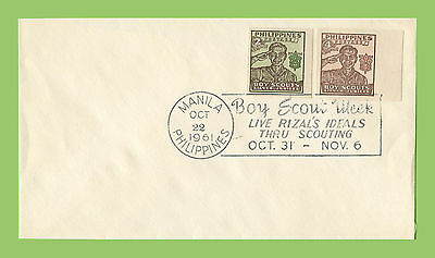 Phillipines 1961 Boy Scout Week slogan cancel cover, two imperf stamps