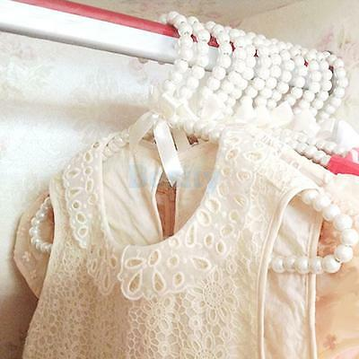 ABS Pearl Children Kids Clothes Hanger Coat Baby Skirt Trouser White Bowknot