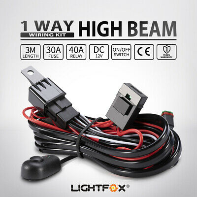 LED HID Wiring Loom Harness Spot Work Driving light bar 12V 40A Relay Deutsch
