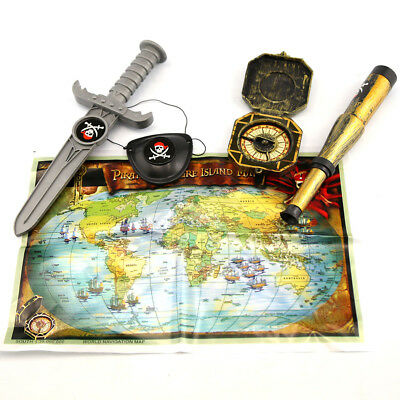 Fancy Dress Pirates Treasure Map Dagger Eye Patch Compass Halloween Kids Party
