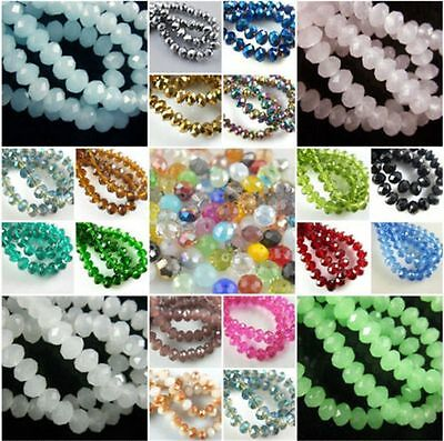 Loose 100Pcs Charms Faceted 6mm Rondelle Glass Crystal Spacer Beads Findings