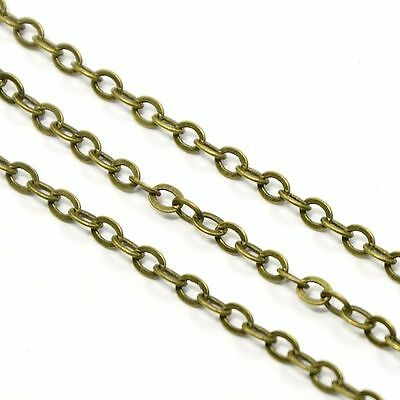 10m Antique Bronze Soldered Brass Cable Chain Cross Chains 3.5x2.5x0.45mm