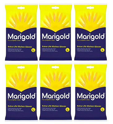 Pack of 6 Pairs of Large Yellow Marigold Extra Life Kitchen Washing Up Gloves