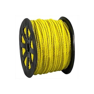 """""""Twisted Polypropylene Rope, 3/16"""""""", 650 lb, Yellow, 600'/Case"""""""