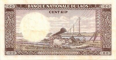 LAOS 1974 ND 100 KIP BANK NOTE in a Protective Sleeve