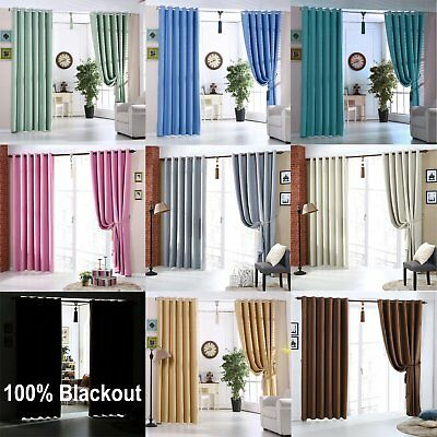 Blackout Curtains Eyelet Ready Made Thermal Insulated Energy Saving Keep Privacy