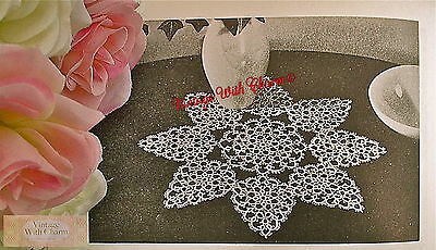 Finished Size 5 ½ x 10 ½ inches Vintage Bread Tray Doily Tatting Pattern