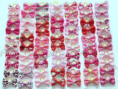 Puppy Dog Hair Bows Pink Rose Red For Girls Dog Princess Pet Groomings Bows