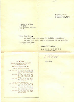 RADIO MOSCOW letter & broadcast schedule North America 1958