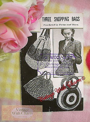 Vintage 1940s Crochet Pattern 3 Shopping Bags Made From Twine & Yarn JUST £2.69