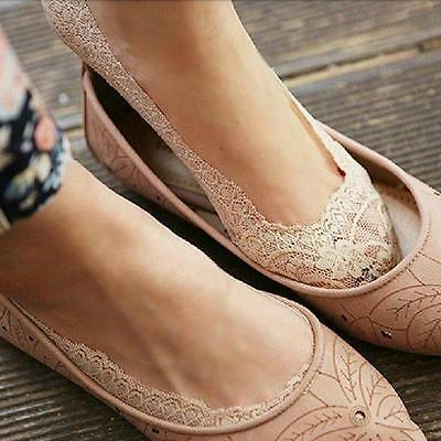 Women Cotton Lace Antiskid Invisible Liner No Show Peds Low Cut Boat Socks New Z