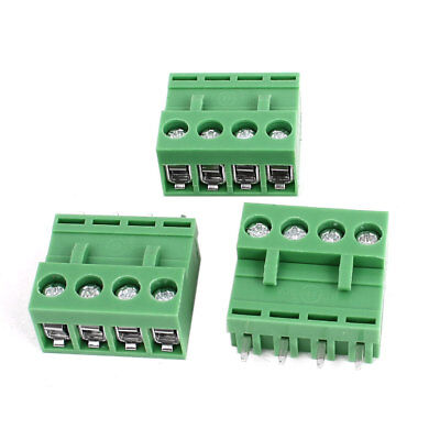 300V 10A 4 Pin 5.08mm Single Row PCB Screw Terminal Block Connector 3pcs Green