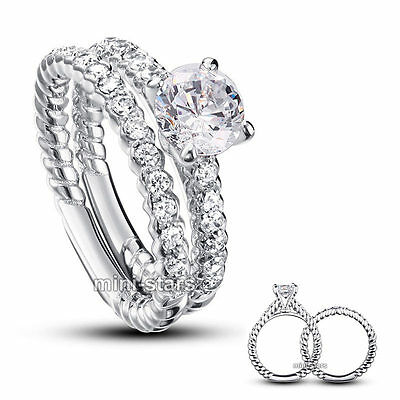 925 Sterling Silver 2-Pcs Wedding Engagement Ring Set Created Diamond FR8010
