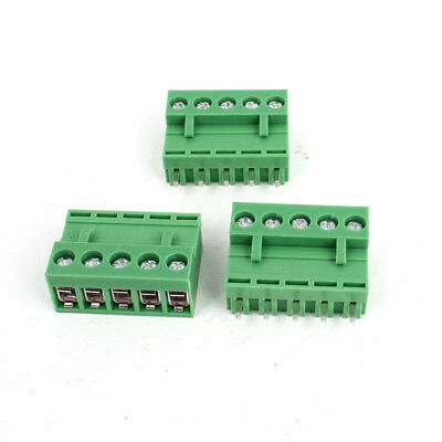 300V 10A 5P Pole 5.08mm PCB Screw Terminal Block Straight Connector 3pcs Green