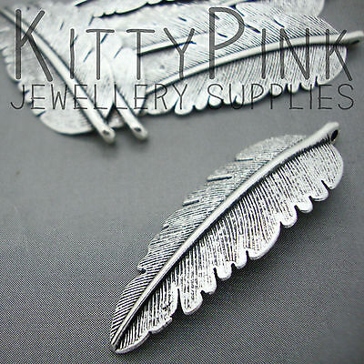 10 Antique Silver Feather 54mm x 18mm Jewellery Charm Pendants
