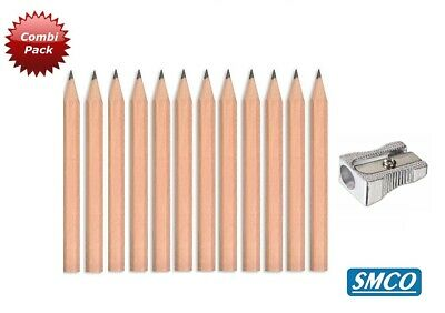 12 x SMCO Golf Pencils HB HALF SIZE & 1 x FREE Metal Sharpener Same Day Dispatch