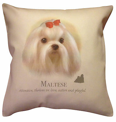 Maltese Dog HR Cotton Cushion Cover - Choose Cream or White Cover - Gift Item