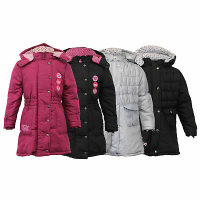 Girls Coat Kids Jacket Hello Kitty Disney Padded Hooded Quilted Lined Winter New