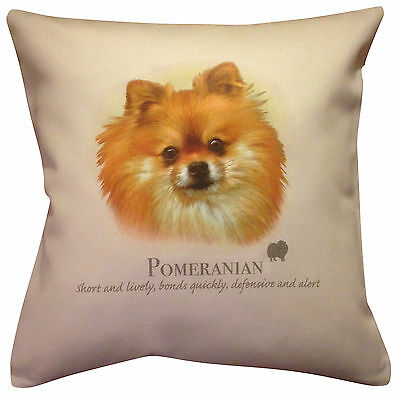 Pomeranian Dog HR Cotton Cushion Cover - Choose Cream or White Cover - Gift Item