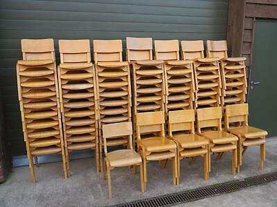 12 Available Vintage Reclaimed Stacking Chairs - Kitchen Dining Church Chair