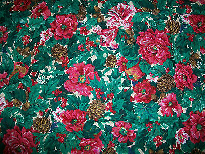 Pink Blossoms, Holly & Pine Cones Cotton Fabric