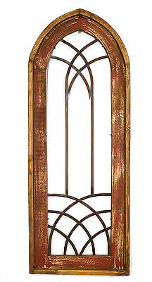 Valeria- Rustic Architectural Wall Garden Window-Wood & Iron-20x50-Red-Gothic