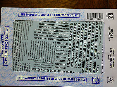 Microscale Decal #90022 Gothic - Condensed Letters and Numbers - Black