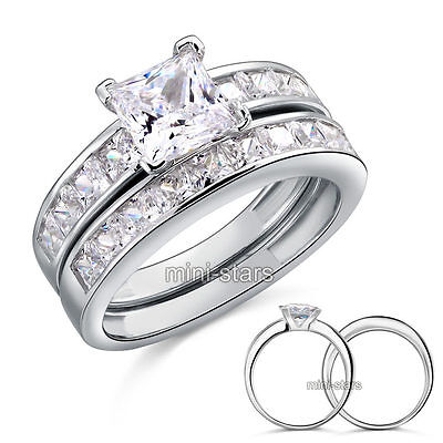 925 Sterling Silver 2-Pcs Wedding Engagement Ring Set Created Diamond  FR8020