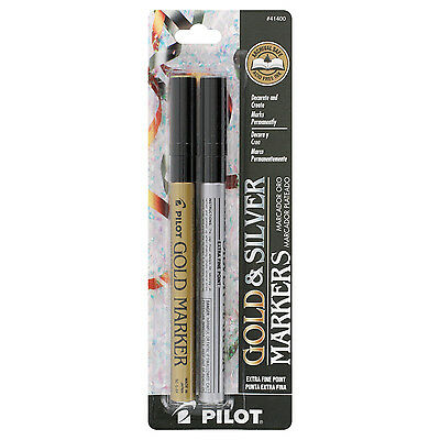 Pilot Gold and Silver Permanent Markers, Extra Fine Point, 2/Pack (41400)