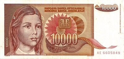 YUGOSLAVIA 1992 10000 DINARA  BANK NOTE in a Protective Sleeve