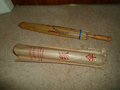 Excellent Small Retro Oriental Paper+Wood Parasol-Stage Prop-Display-Photoshoot