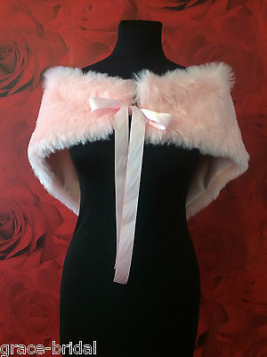 LUXURY PINK FAUX FUR WRAP SHRUG  ASS. SIZES BNIP **free samples**