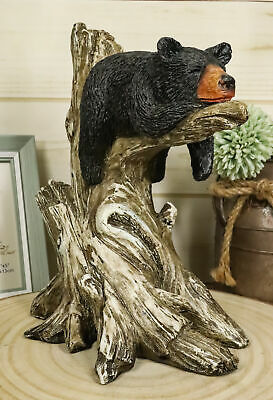 Lazy Summer Black Bear Cub Sleeping On Tree Branch Sculpture Statue Figurine