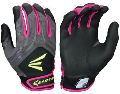 1pr Easton HF3 Hyperskin Womens Large Black/Grey/Pink Fastpitch Batting Gloves