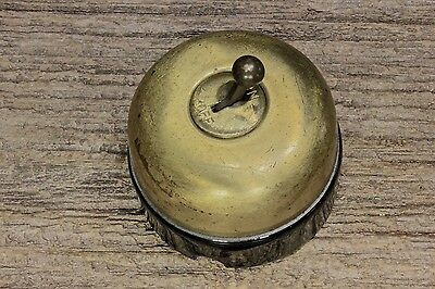 toggle switch New old Stock brass black porcelain vintage single pole early 1900