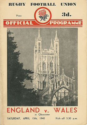 ENGLAND v WALES 13 Apr 1940 WARTIME SERVICES RUGBY PROGRAMME
