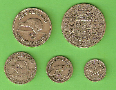 1933  New Zealand Silver  Coins  - First Year
