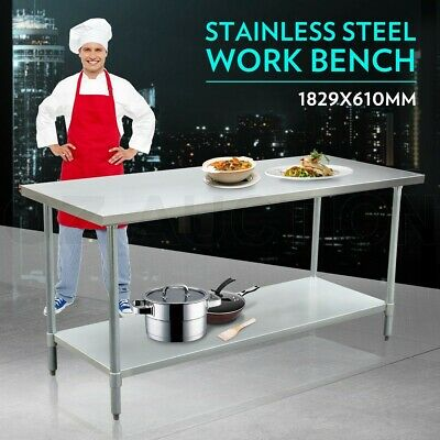 1829mm x 610mm New Stainless Steel Kitchen Work Bench Food Prep Catering Table