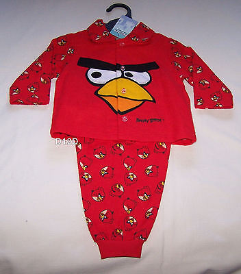 Angry Birds Boys Red Printed Flannel Pyjama Set Size 0 New