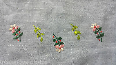 Vintage Blue Floral Table Runner Pink White Flowers Green Leaves Hand Made