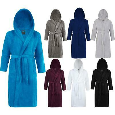 Mens & Ladies 100% Cotton Terry Towelling Hooded Shawl Bathrobe Dressing Gown